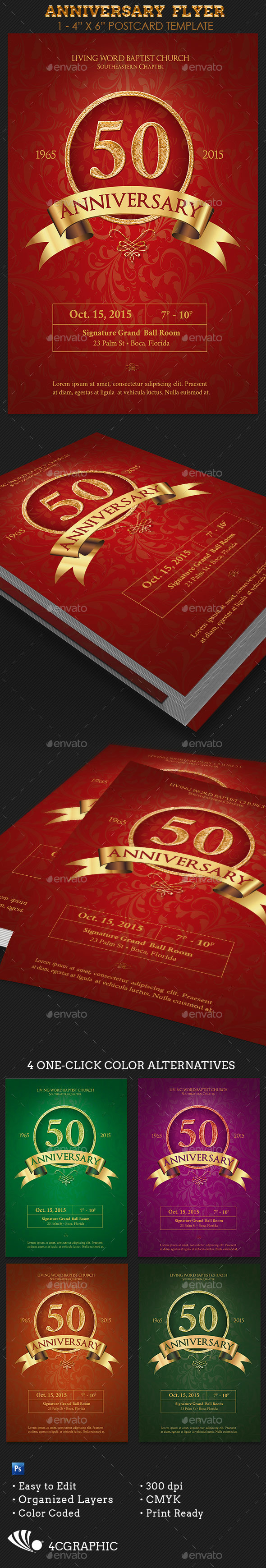 Church Anniversary Flyer Template - Invitations Cards & Invites