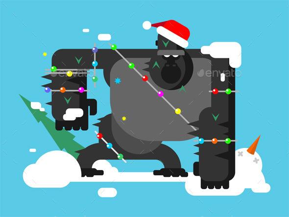Christmas Gorilla Character - New Year Seasons/Holidays