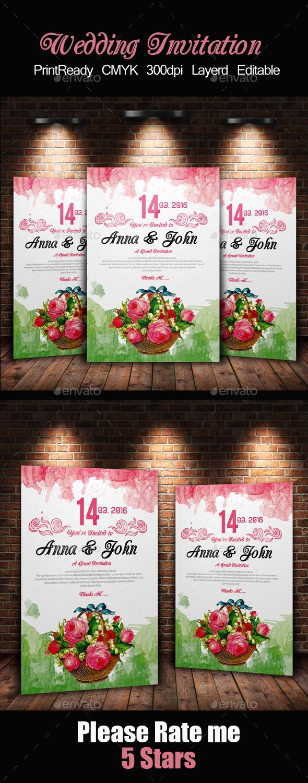 Water Colore & Floral Invitation Card - Invitations Cards & Invites