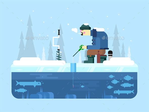 Man On Winter Fishing - Seasons Nature