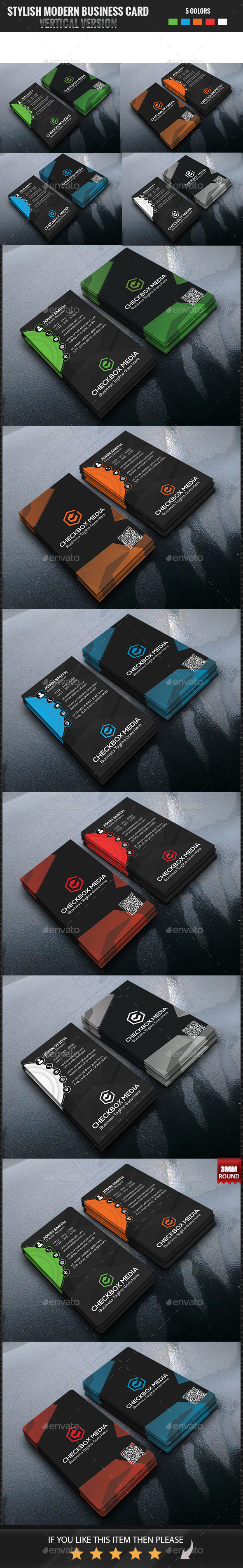 Stylish Modern Business Card Vertical Version - Business Cards Print Templates
