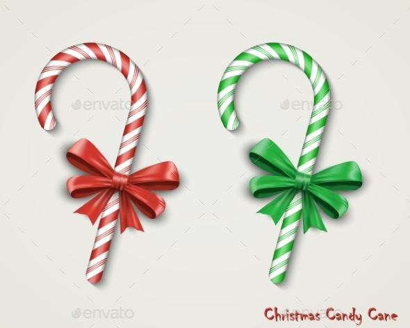 Christmas Candy Cane With Red Bow Isolated - Christmas Seasons/Holidays