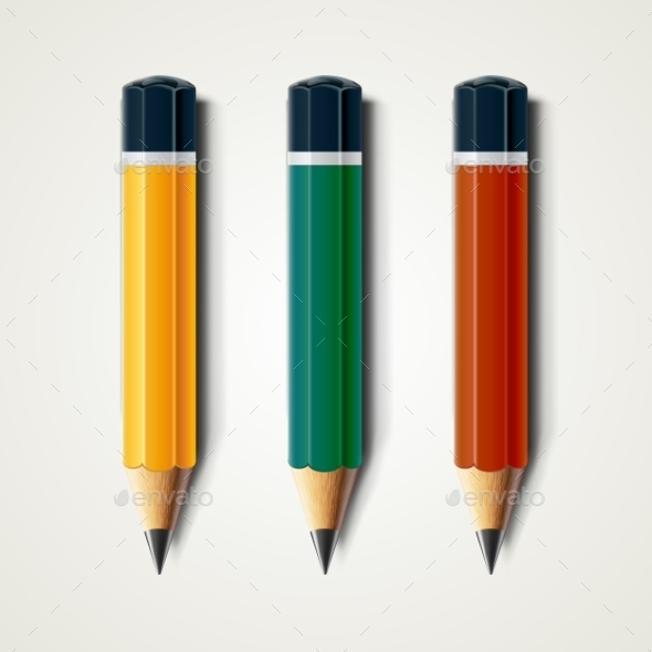 Realistic Detailed Sharpened Pencils Isolated - Objects Vectors