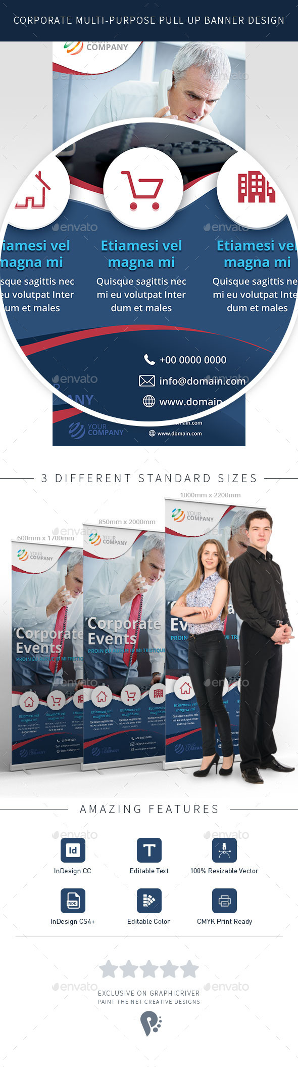 Multi-Purpose Corporate Roll up Banner Design in 3 Sizes - Signage Print Templates
