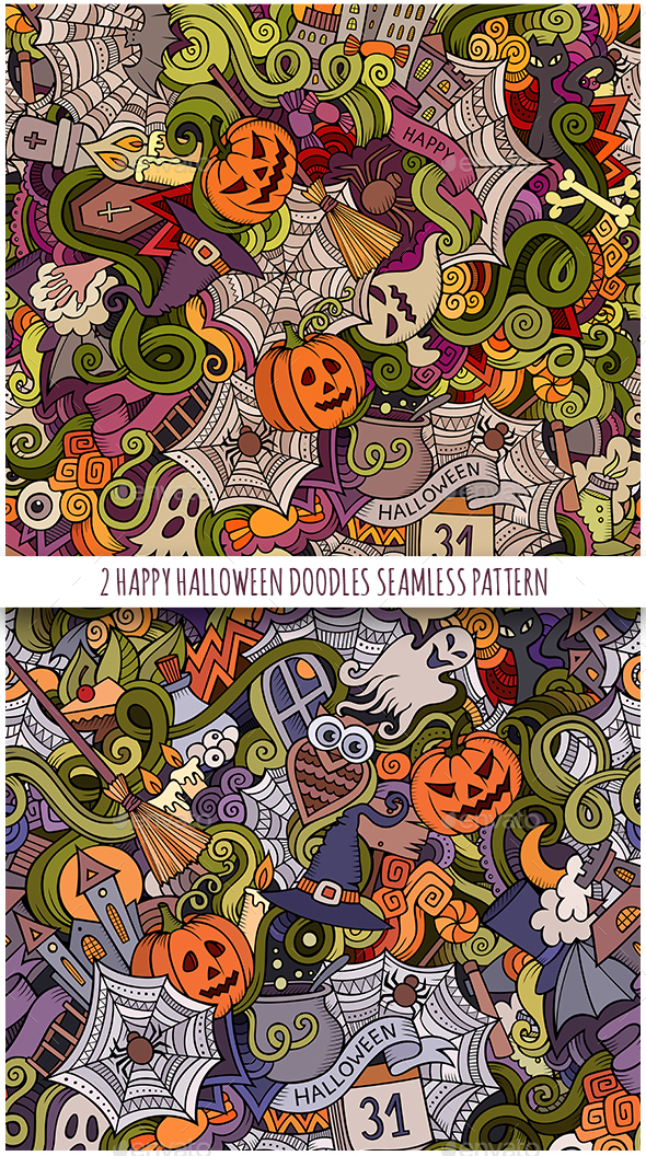 2 Halloween Doodles Seamless Patterns - Halloween Seasons/Holidays