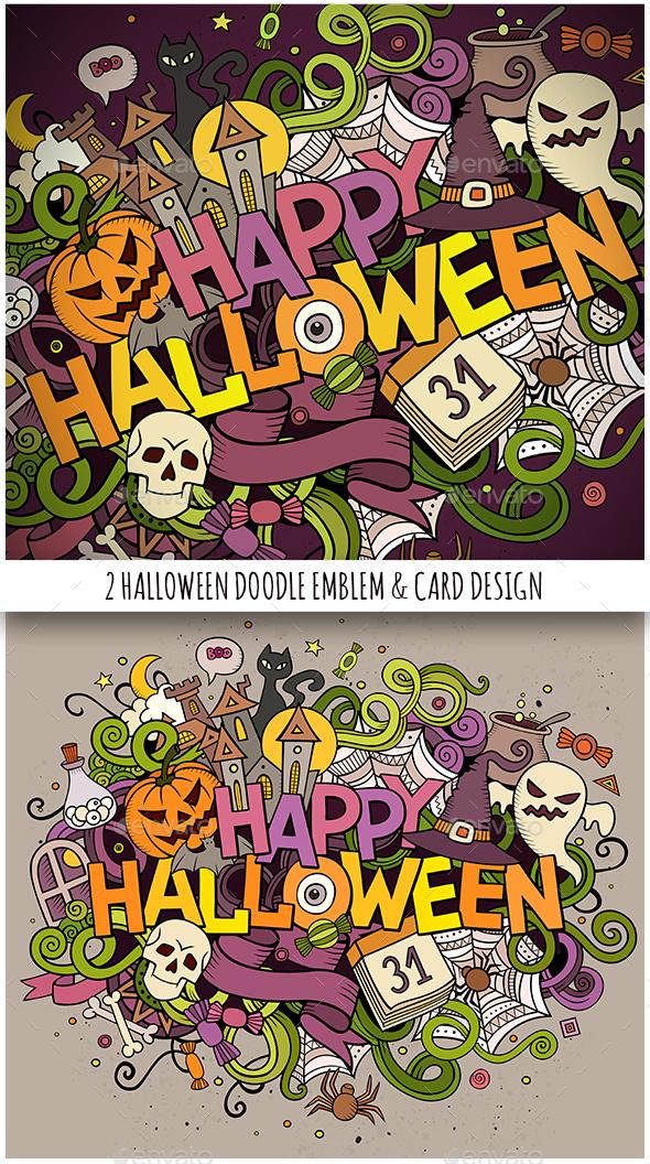 Happy Halloween Doodles Illustration & Card - Halloween Seasons/Holidays