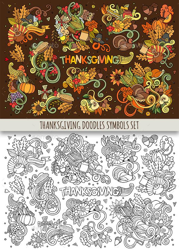 Thanksgiving Doodles Symbols Set - Seasons/Holidays Conceptual