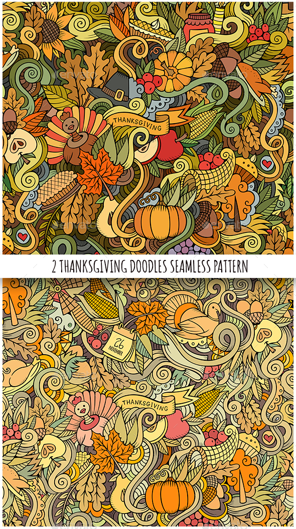 2 Thanksgiving Doodles Seamless Patterns - Seasons/Holidays Conceptual