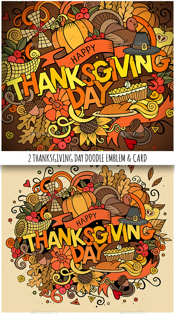 Happy Thanksgiving Doodles Illustration & Card - Seasons/Holidays Conceptual