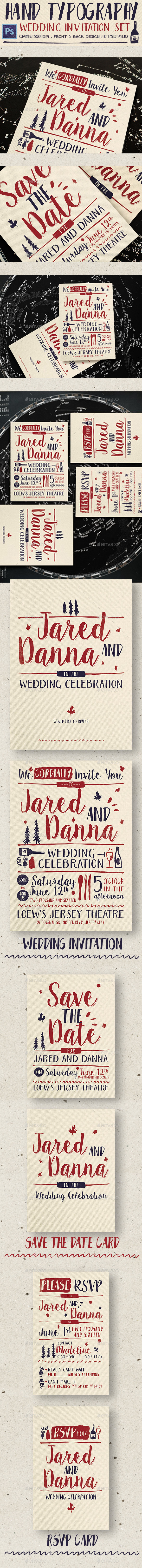 Hand Typography Wedding Invitation - Weddings Cards & Invites