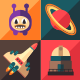 Space Icons Flat Style