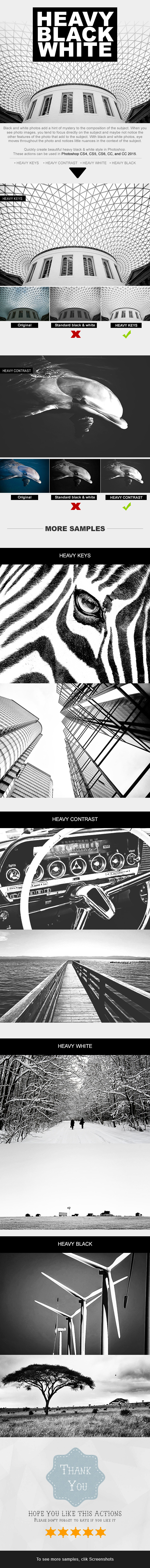 Heavy Black White Photoshop Actions - Photo Effects Actions