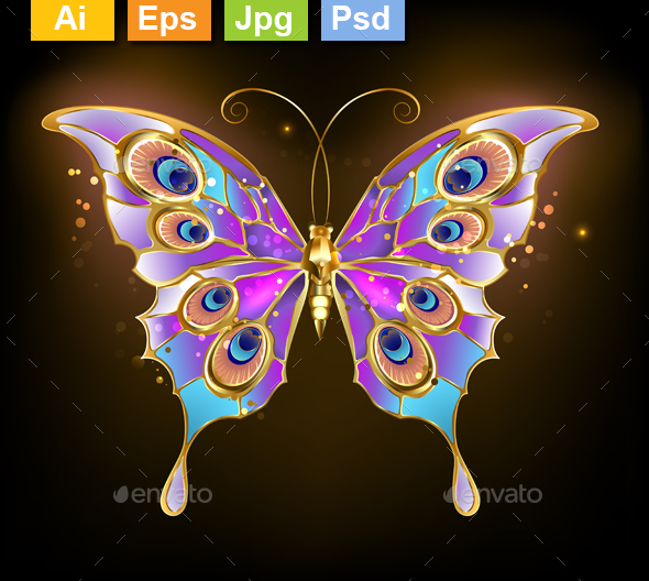 Gold Butterfly Peacock - Decorative Vectors