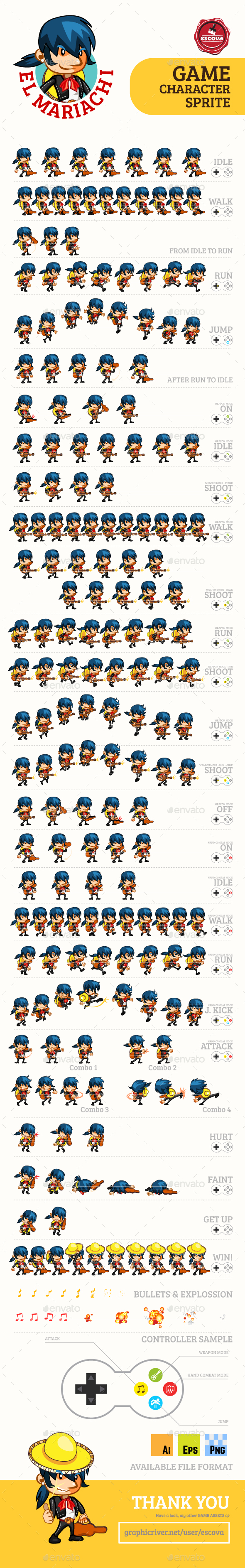 El Mariachi Game Character Sprites - Sprites Game Assets