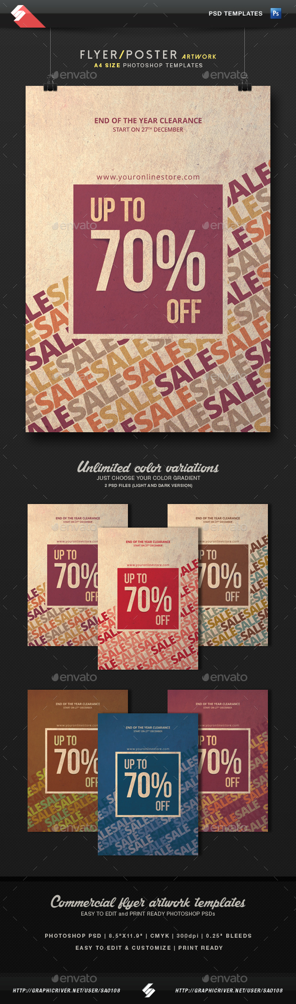 Sale Off - Discount Flyer Template A4 - Commerce Flyers