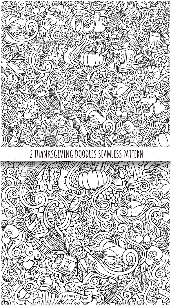 2 Thanksgiving Doodles Seamless Patterns - Miscellaneous Seasons/Holidays