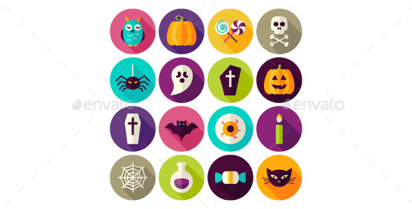 Halloween Scary Flat Icons - Seasonal Icons