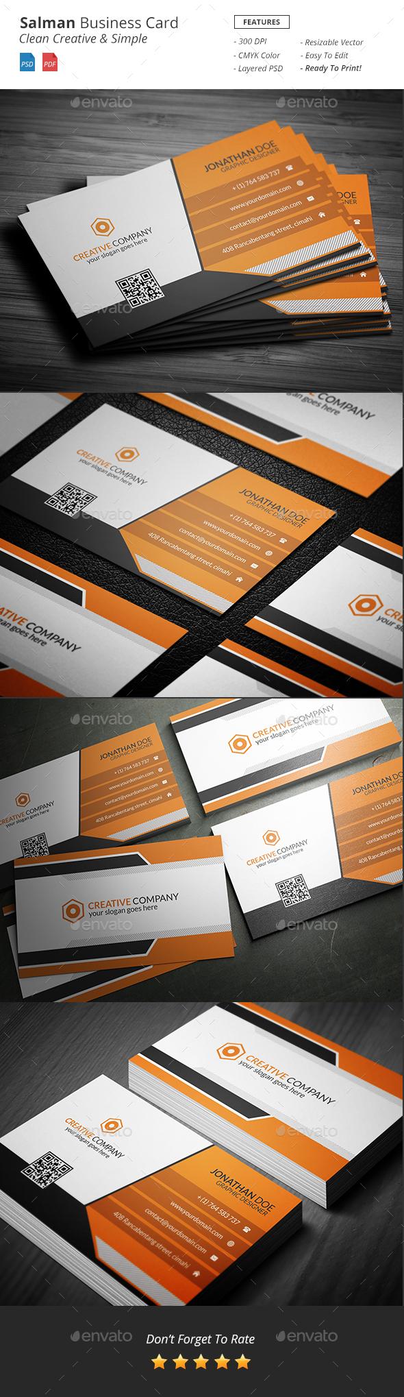 Salman - Creative Business Card - Corporate Business Cards