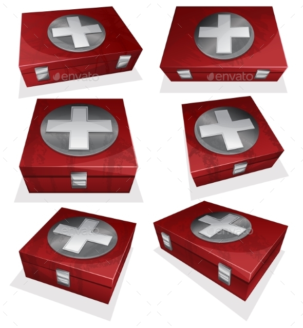 Set Of First Aid Kit Box - Health/Medicine Conceptual