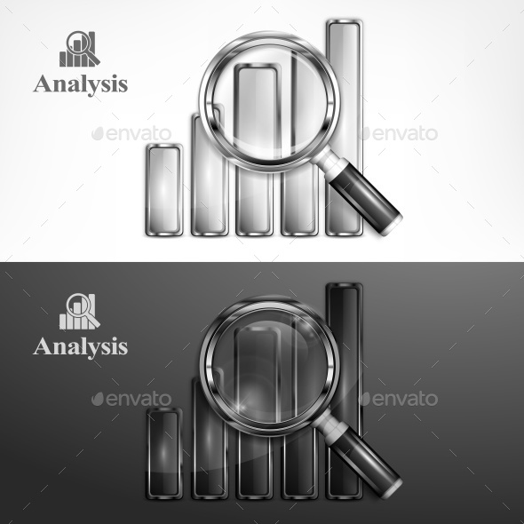 Magnifying Glass and Chart on Black  - Miscellaneous Vectors