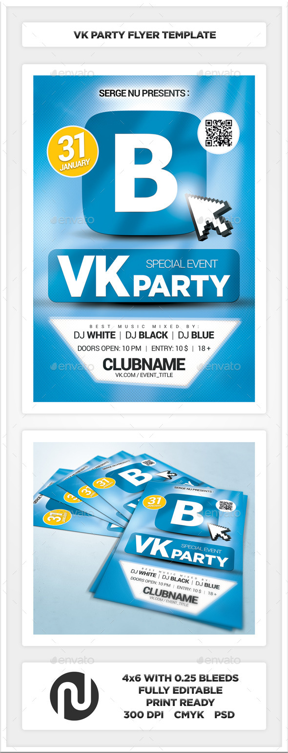 VK Party Flyer Template - Flyers Print Templates