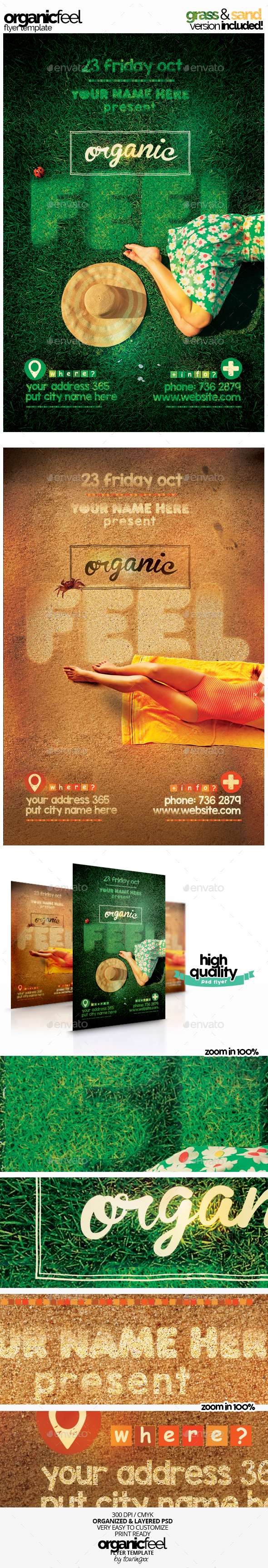 Organic Feel Flyer Template Grass & Sand Version - Events Flyers