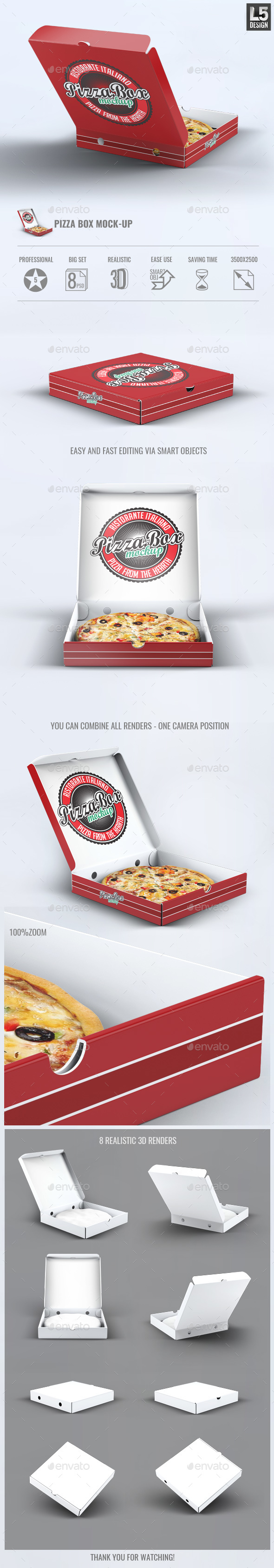 Pizza Box Mock-Up - Food and Drink Packaging
