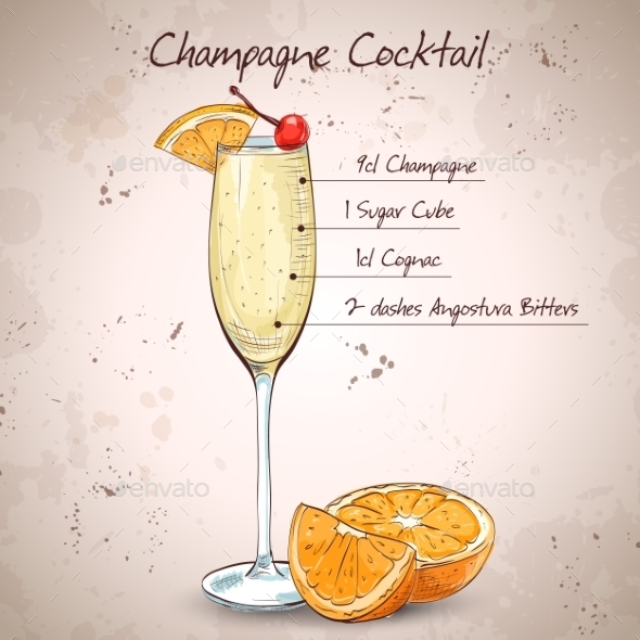 Champagne Cocktail - Food Objects