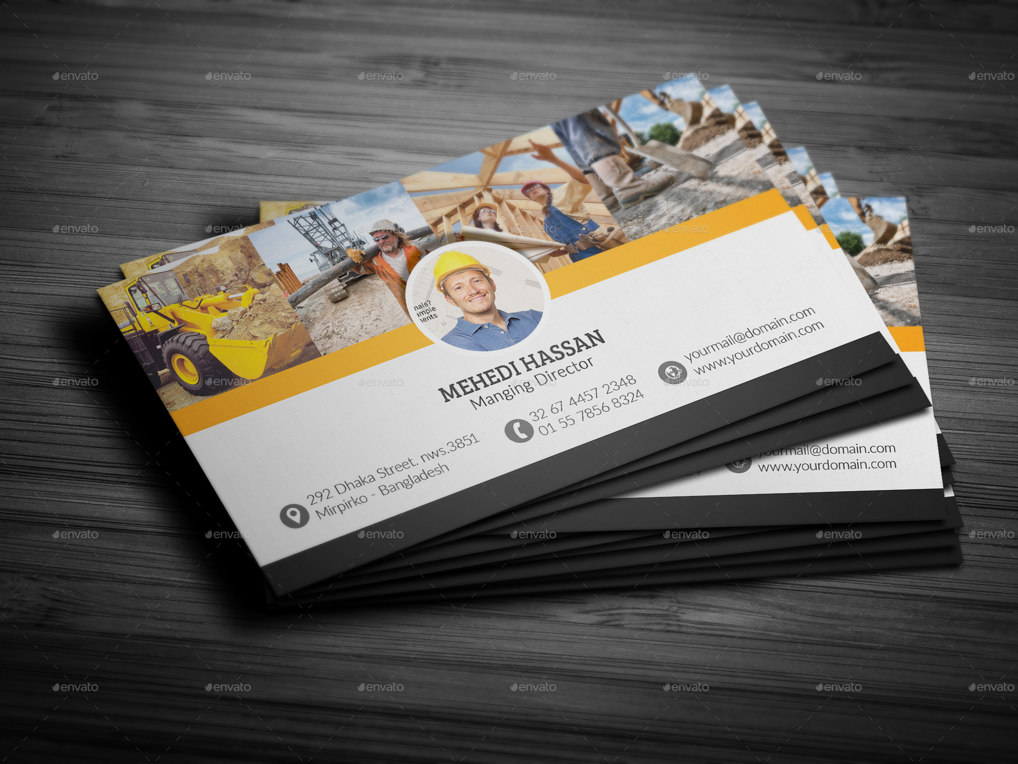 Construction Business Card by Mehedi__Hassan | GraphicRiver