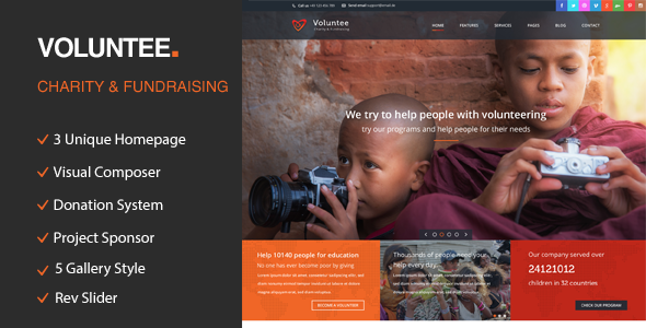 Volunteer – Charity/Fundraising WordPress Theme