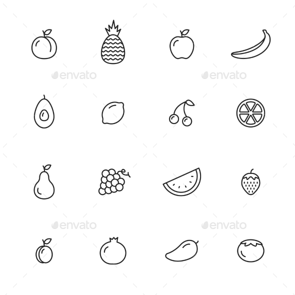 Fruits Icons - Food Objects