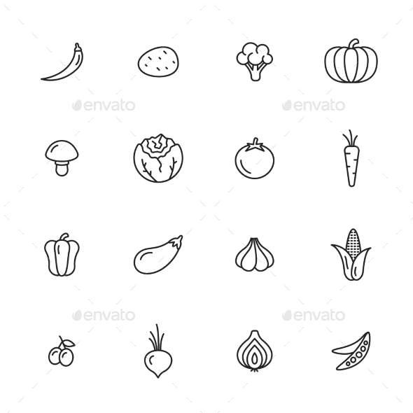 Vegetables Icons - Food Objects