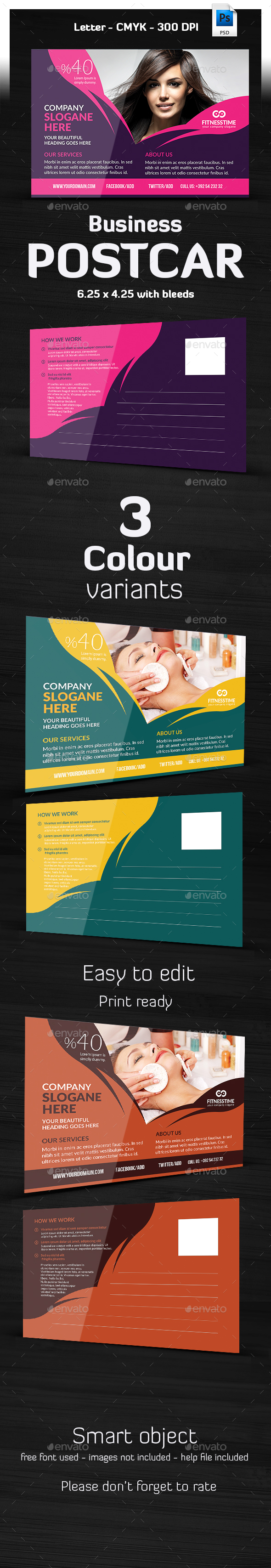 Hair & Beauty Salon Postcard Template  - Cards & Invites Print Templates