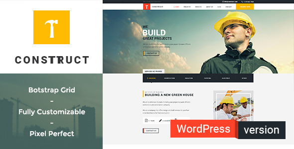 Construct - Construction, Building WordPress Theme - Business Corporate