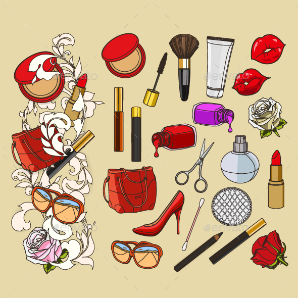 Beauty Doodle Icons - Man-made Objects Objects
