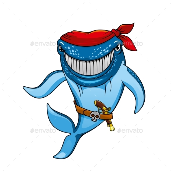 Cartoon Blue Whale Pirate In Bandanna And Gun - Animals Characters