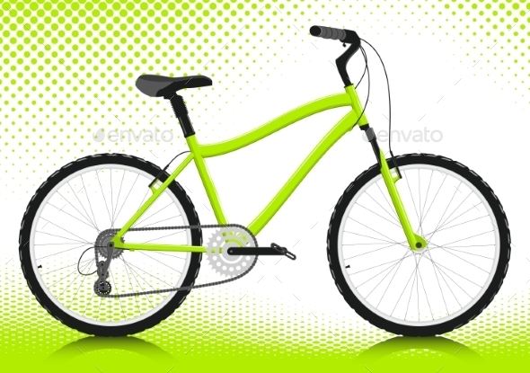Bicycle On a White Background. Vector. - Sports/Activity Conceptual