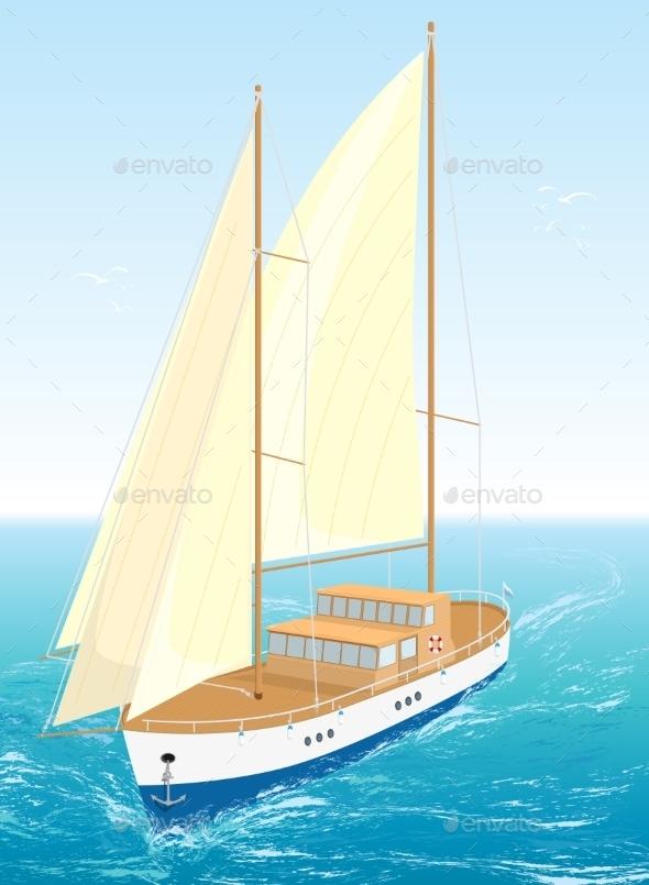 Sea Ship. Vector Illustration - Travel Conceptual