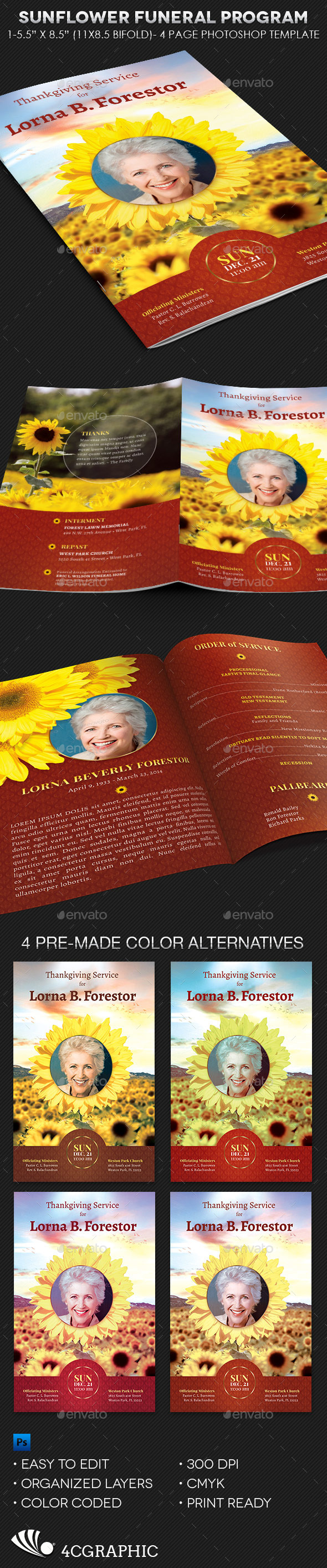 Sunflower Funeral Program Template - Informational Brochures