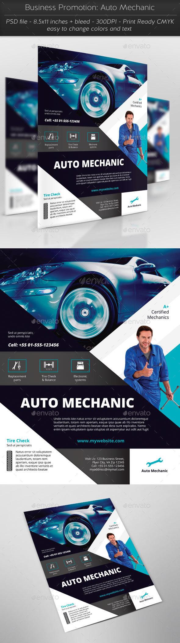 Business Promotion: Auto Mechanic - Flyers Print Templates