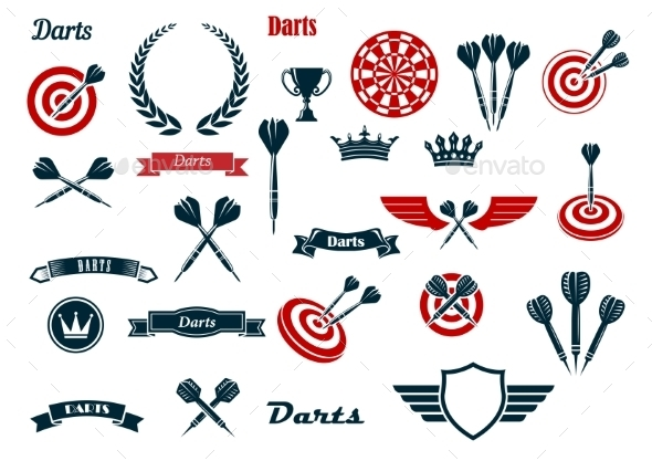 Darts Game Ditems And Heraldic Elements - Sports/Activity Conceptual