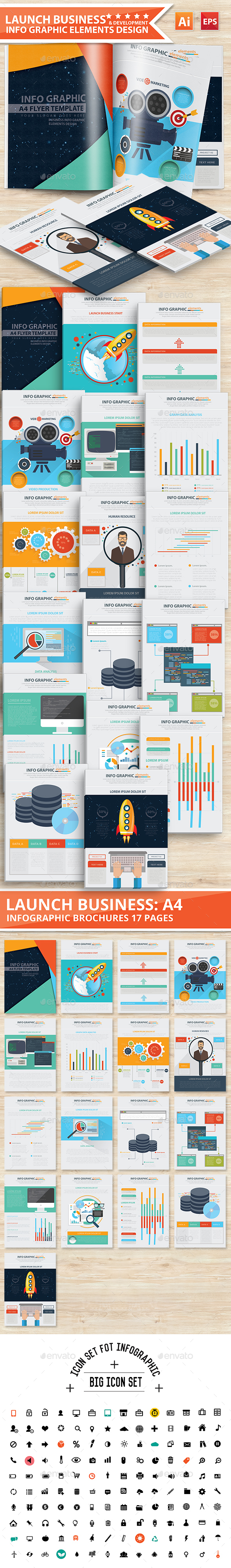 Launch Business Infographic Design 17 Pages - Infographics