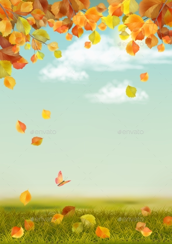 Vector Autumn Landscape - Seasons Nature