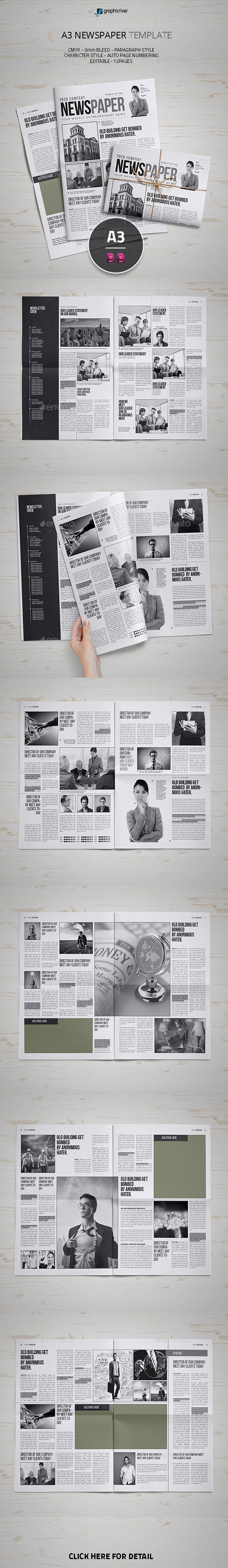 A3 Newspaper Template - Newsletters Print Templates