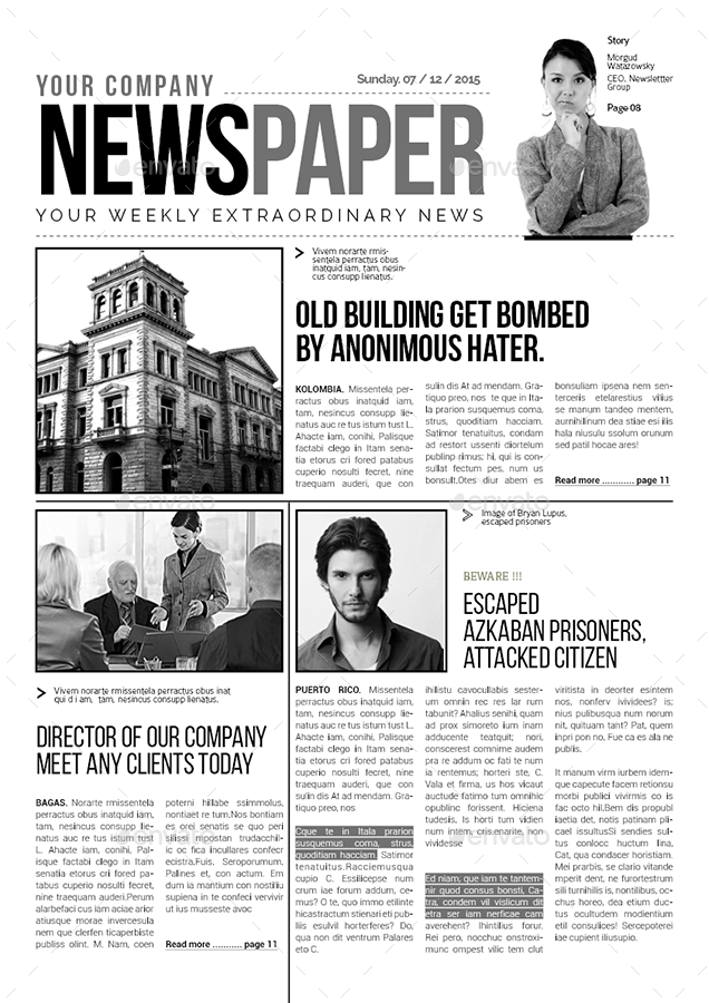 A3 Newspaper Template by spidergraph | GraphicRiver