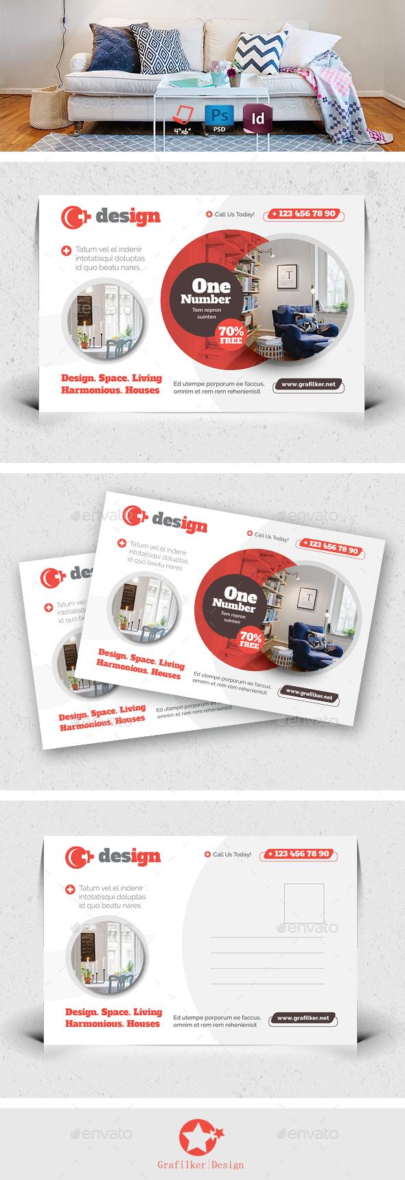 Interior Design Postcard Templates - Cards & Invites Print Templates