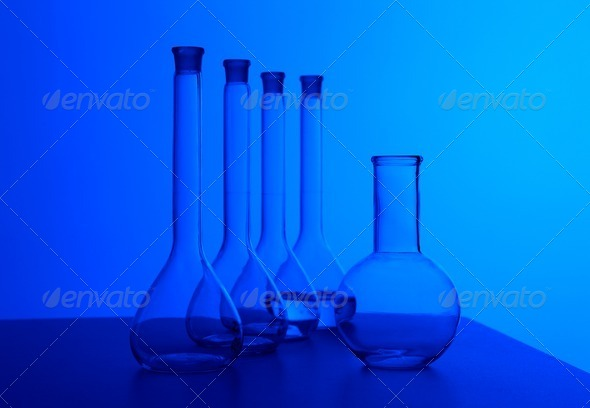 Chemistry laboratory equipment and glass tubes - Stock Photo - Images
