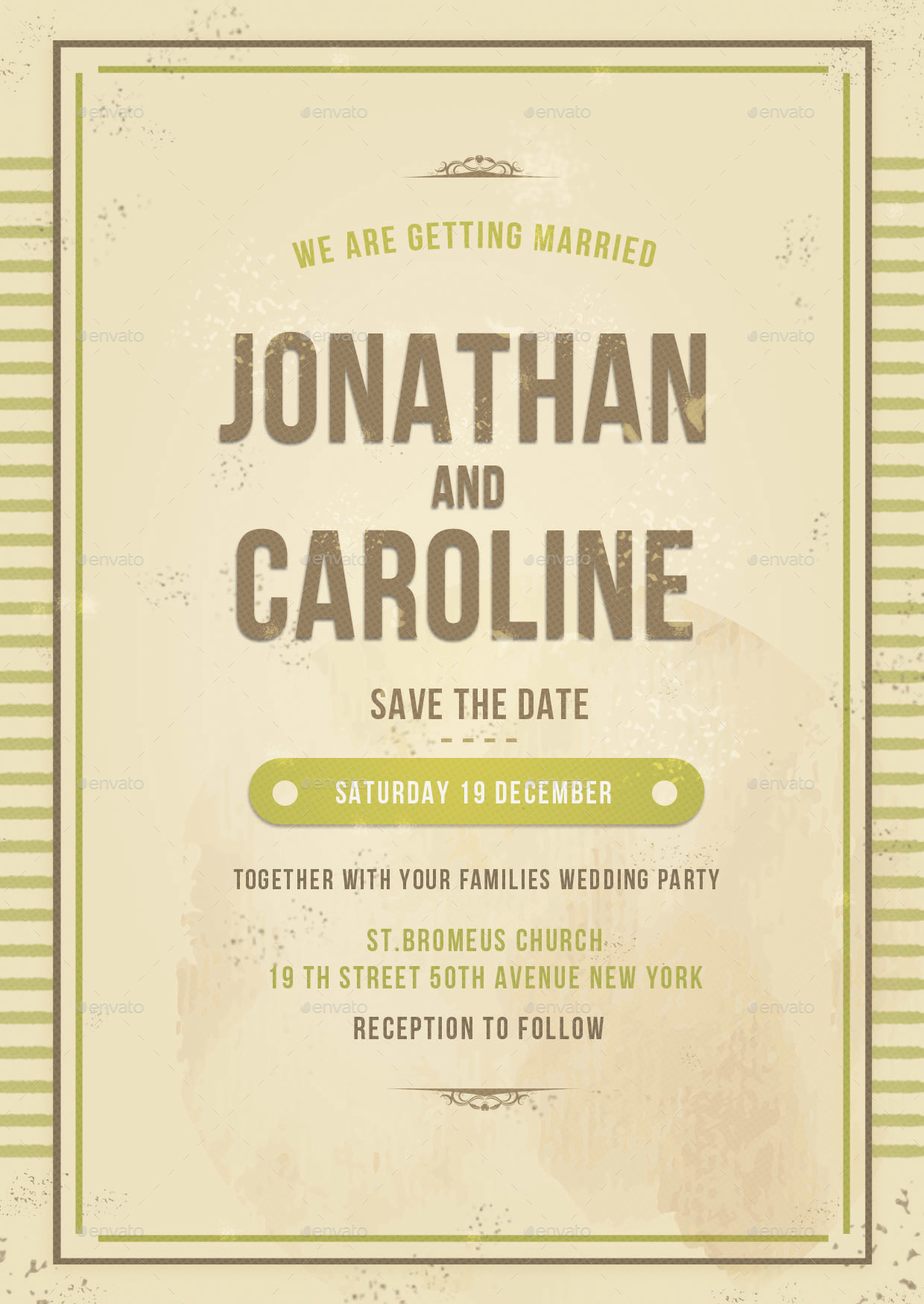 Vintage Wedding invitation by lilynthesweetpea | GraphicRiver