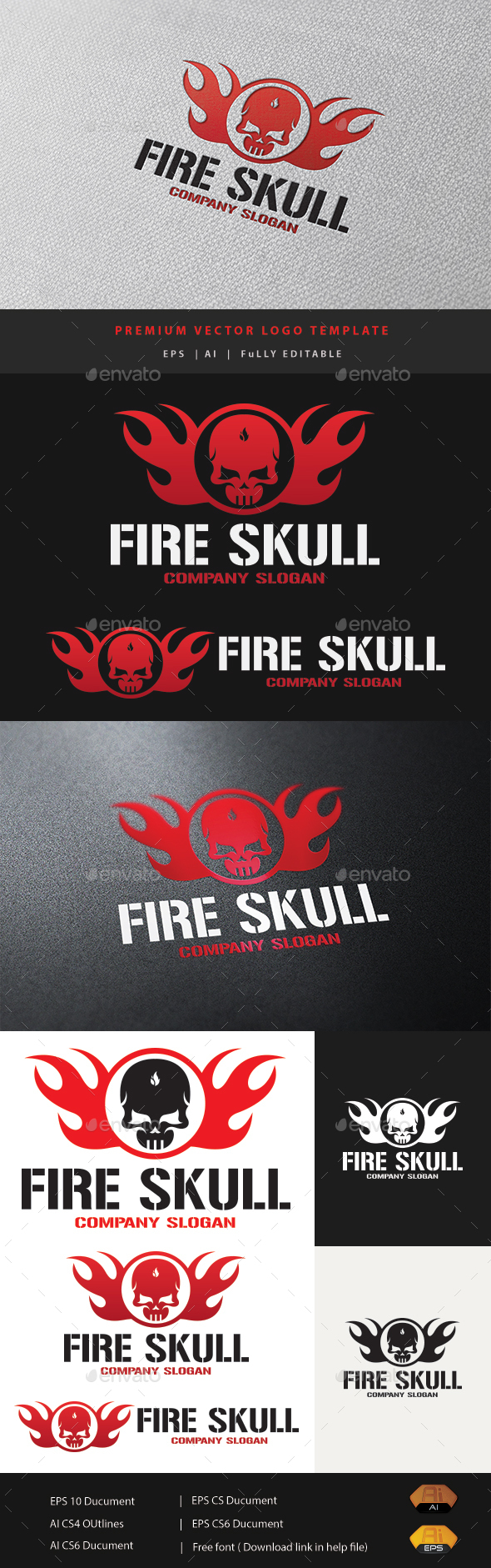 Fire Skull - Humans Logo Templates