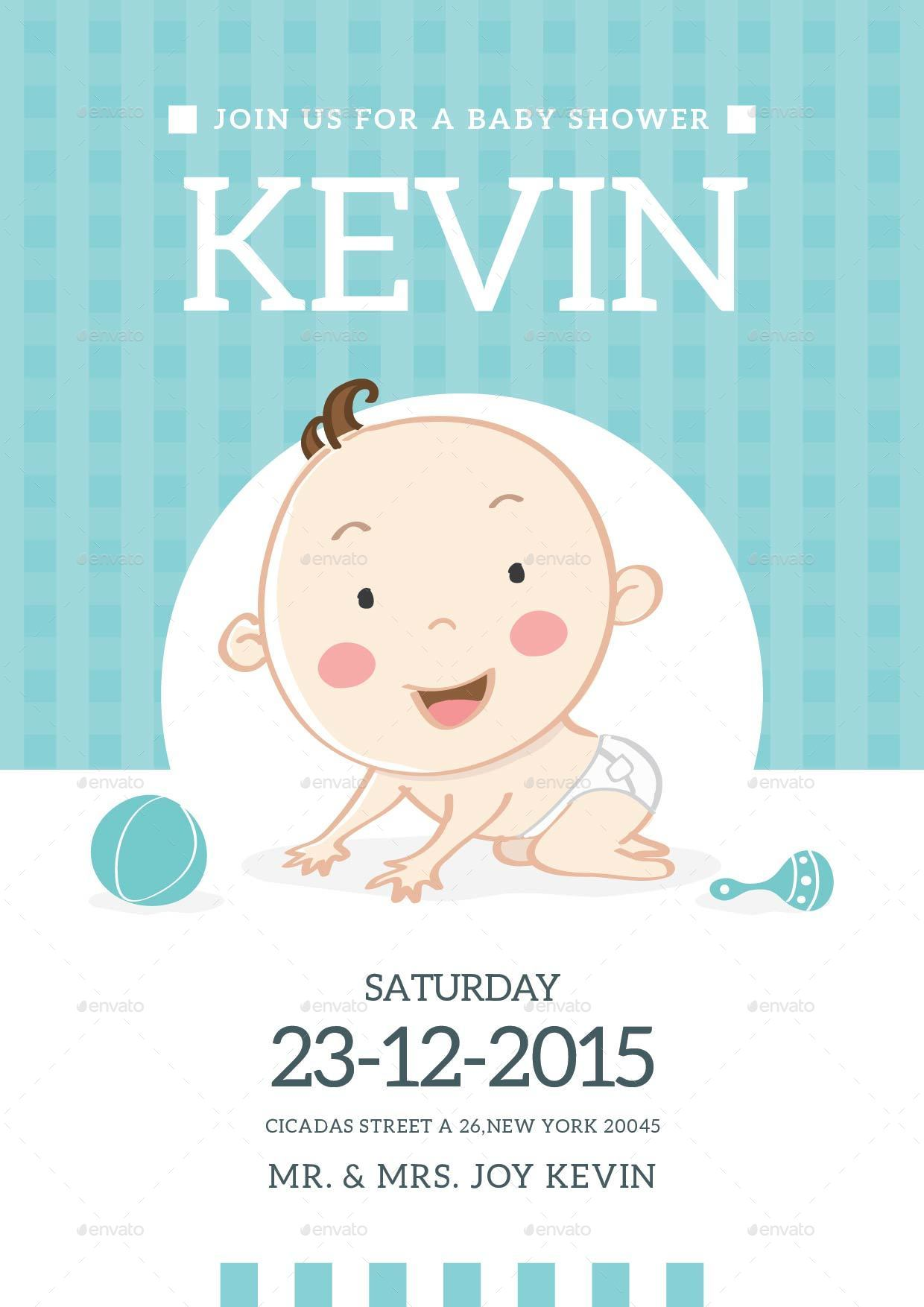 Baby Shower Invitation Card by lilynthesweetpea | GraphicRiver